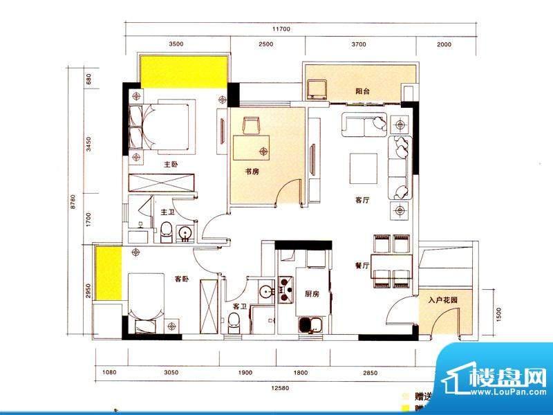 新光御景山户型图4栋01户型 3室面积:99.00平米