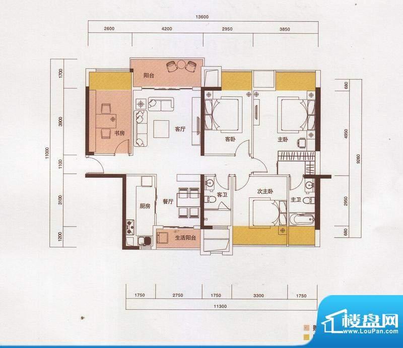 新光御景山户型图5栋02户型 4室面积:138.00平米