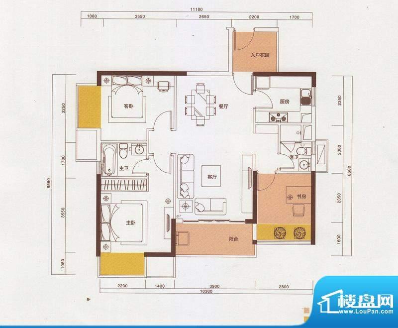新光御景山户型图5栋03户型 3室面积:105.00平米