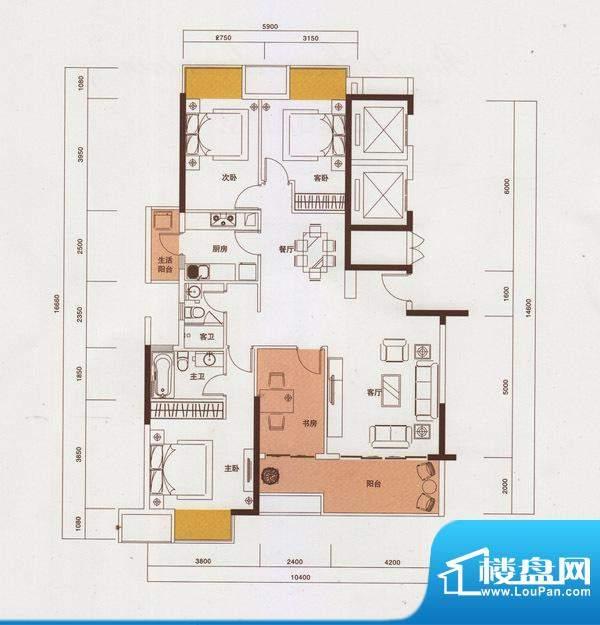 新光御景山户型图2栋01户型 4室面积:140.00平米