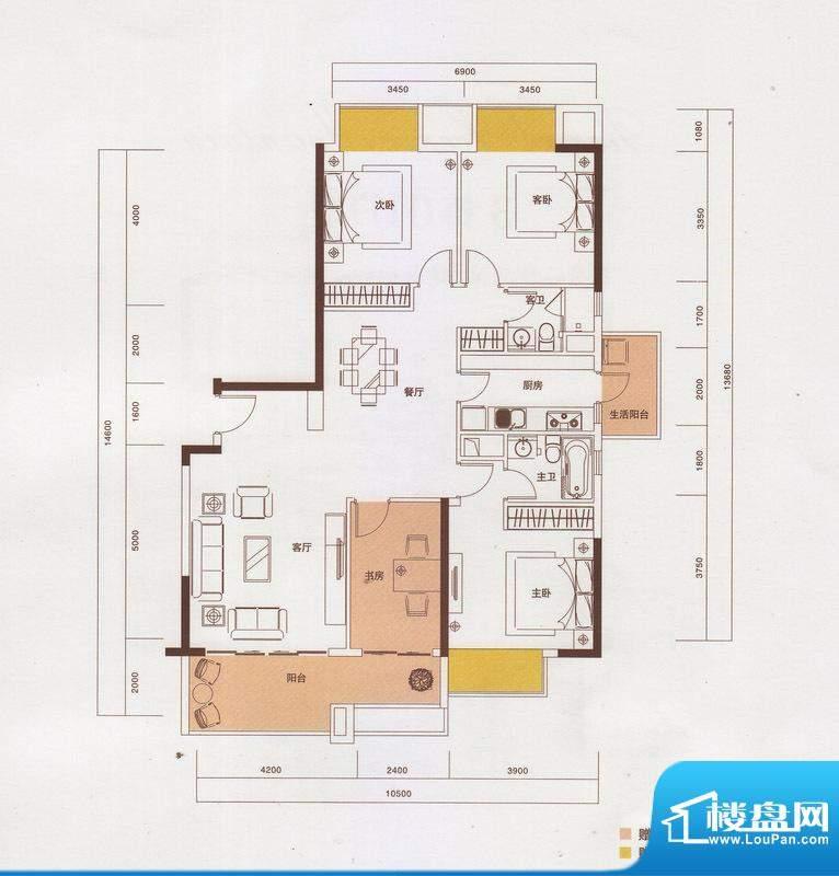 新光御景山户型图2栋02户型 4室面积:140.00平米