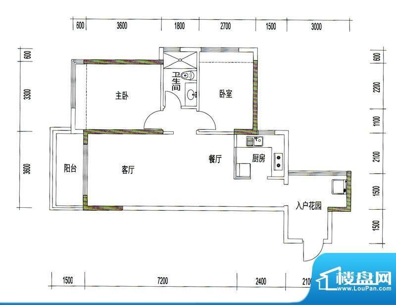 诚丰星座户型图A2户型 2室2厅1面积:85.27平米