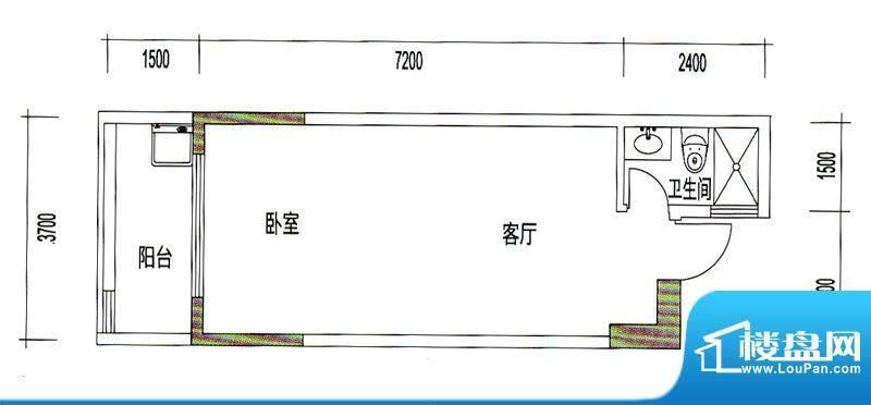 诚丰星座户型图A3户型 1室1厅1面积:44.00平米
