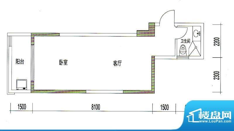 诚丰星座户型图A4户型 1室1厅1面积:51.42平米