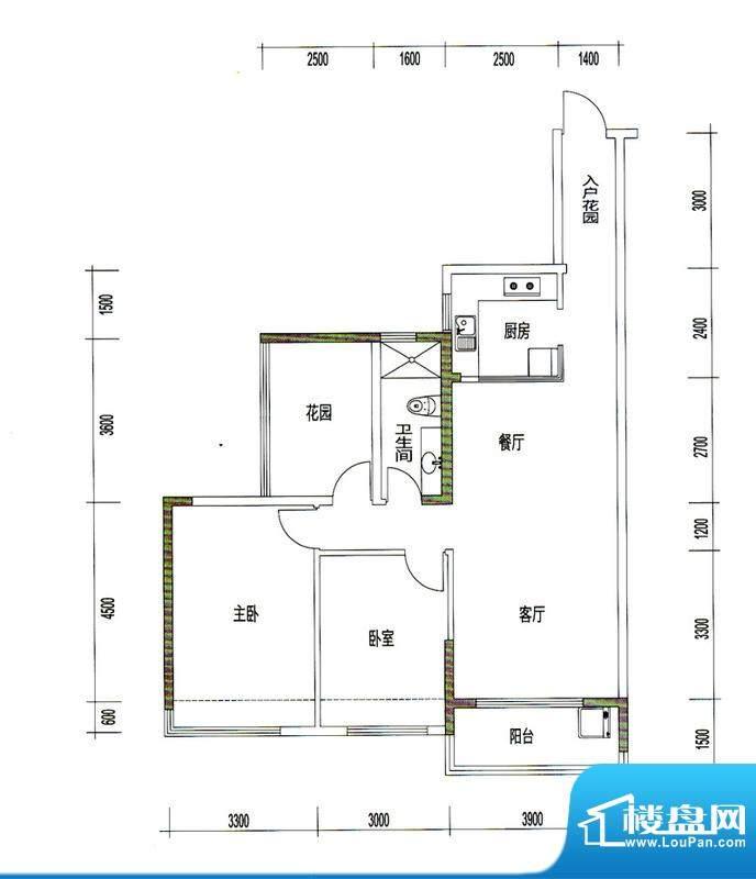 诚丰星座户型图A5户型 2室2厅1面积:101.95平米