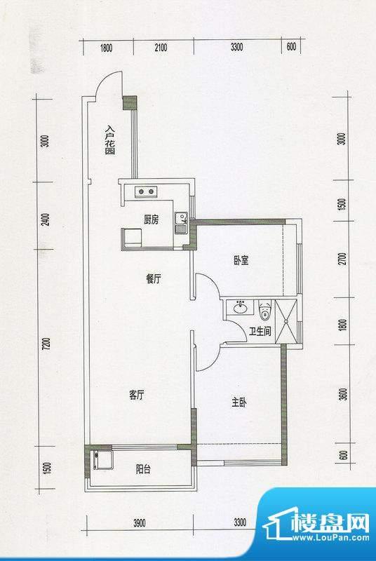 诚丰星座户型图A6户型 2室2厅1面积:87.76平米