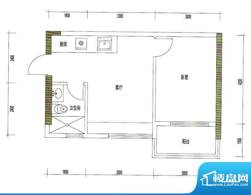 诚丰星座户型图A7户型 1室1厅1面积:45.60平米