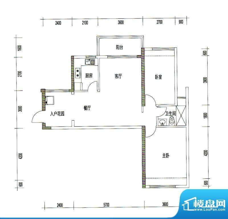 诚丰星座户型图A8户型 2室2厅1面积:89.84平米