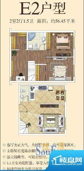 东南悦城户型图E2户型 2室2厅2面积:56.45平米