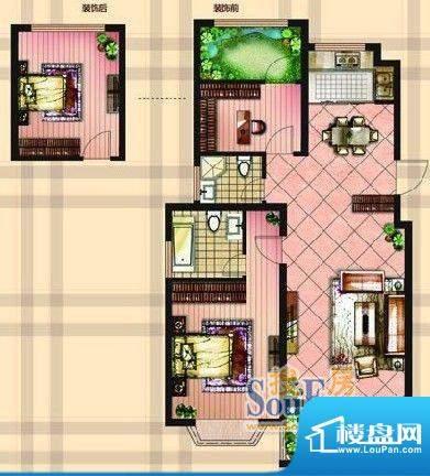 金达帝宝花园户型图A户型 两室面积:95.00平米