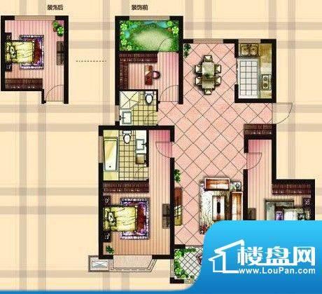 金达帝宝花园户型图B户型 三室面积:119.00平米