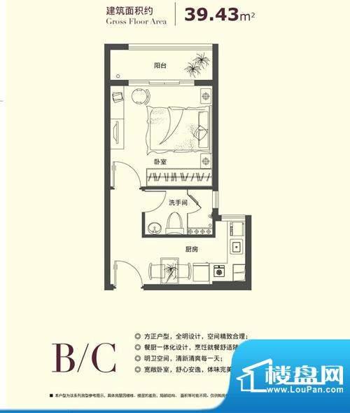 爱乐国际公寓户型图户型图B/C 面积:39.43平米