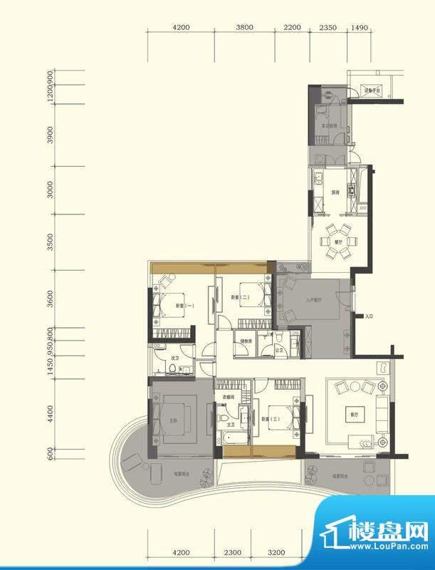 中信红树湾户型图1-2-02户型 4面积:238.00平米