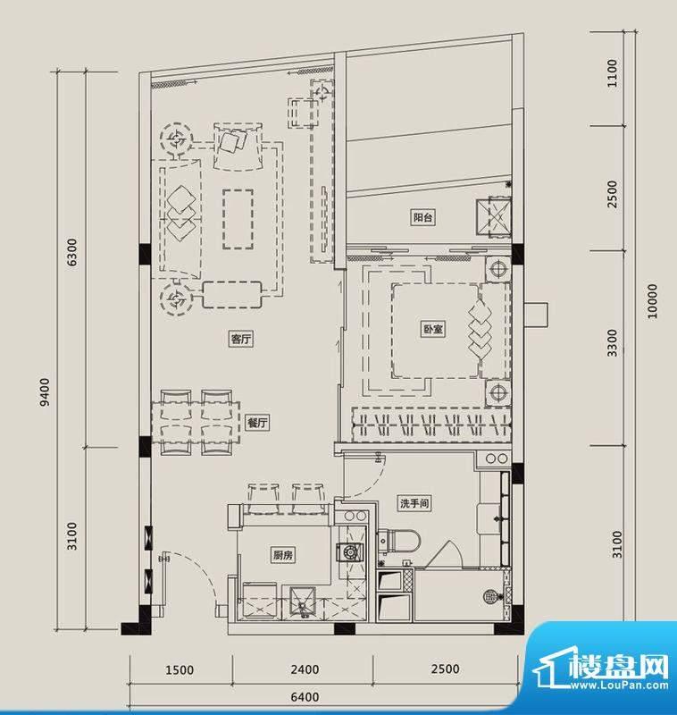 中信红树湾户型图8-1-08户型 1面积:52.79平米