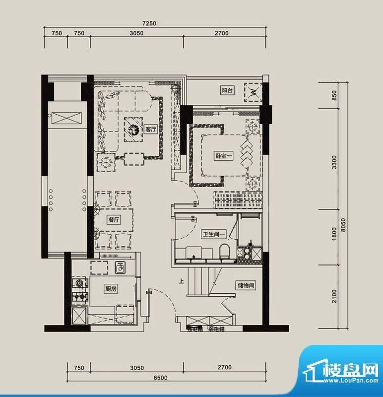 中信红树湾户型图9-1-10/11/12面积:88.69平米