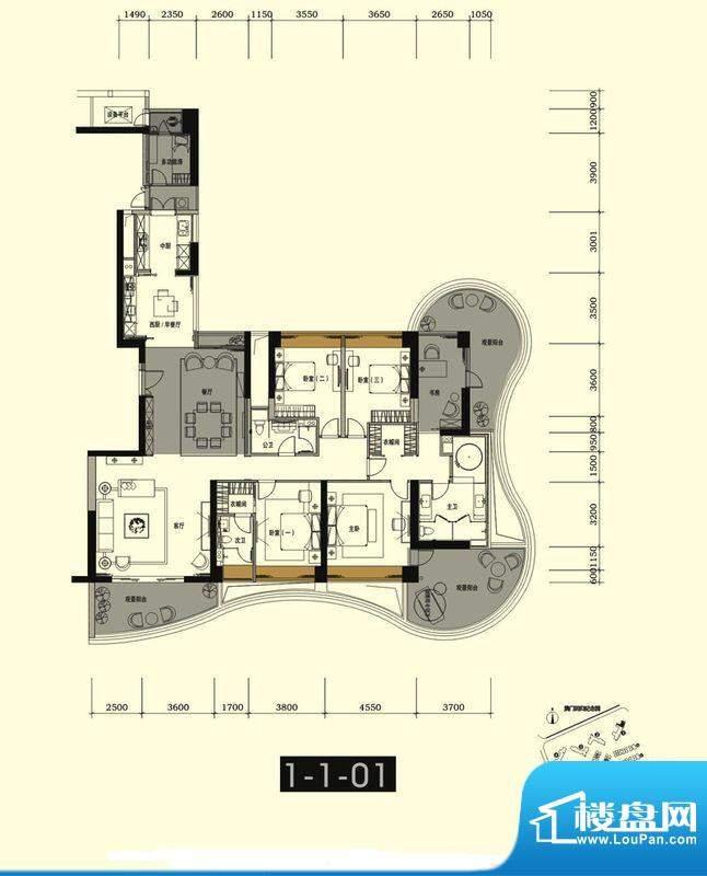 中信红树湾户型图1-1-01房259平面积:259.00平米