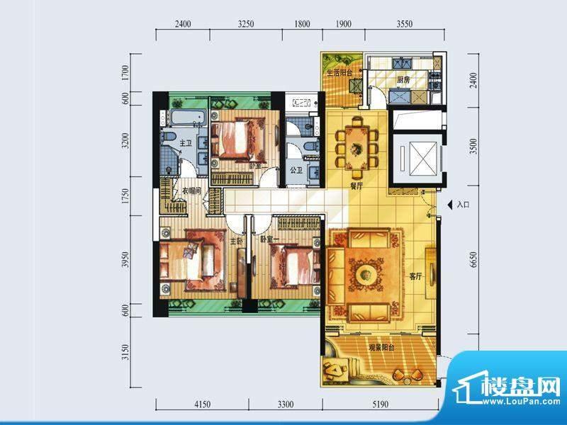 中信红树湾户型图7-2-02房134平面积:134.00平米