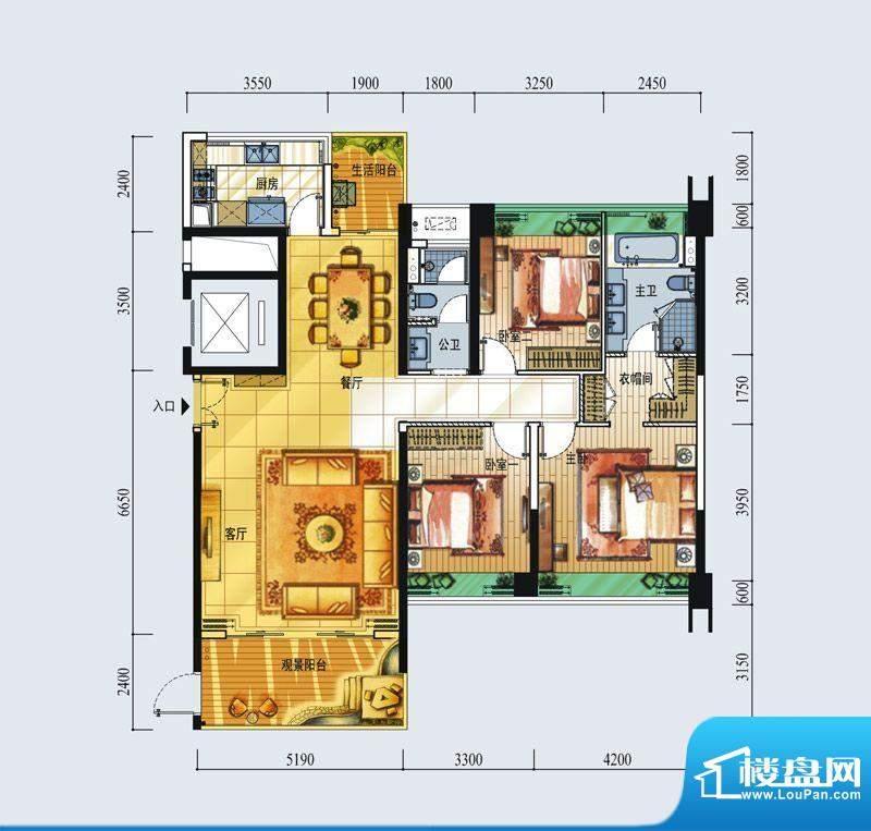 中信红树湾户型图7-2-01房134平面积:134.00平米
