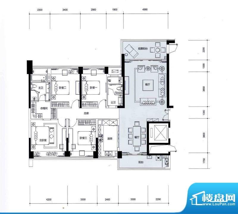 中信红树湾户型图2栋1单元02户面积:154.00平米