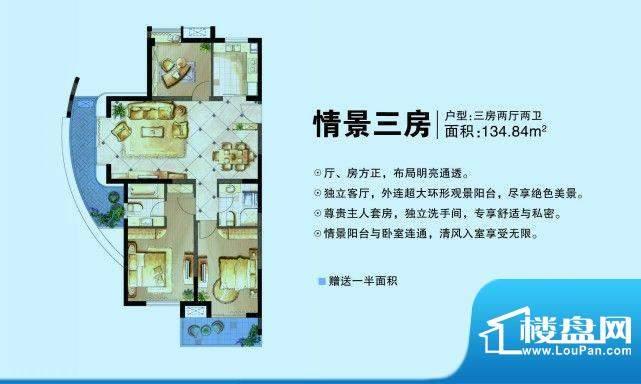 昆承湖国际花园户型图三房两厅面积:134.84平米