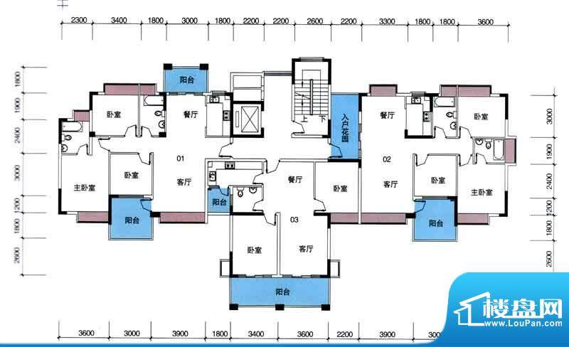 宁海世纪城户型图二期蓝海湾2栋面积:98.40平米