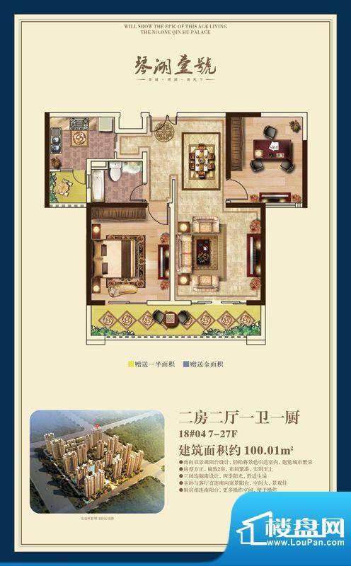 琴湖壹号户型图二房二厅一卫户面积:100.01平米