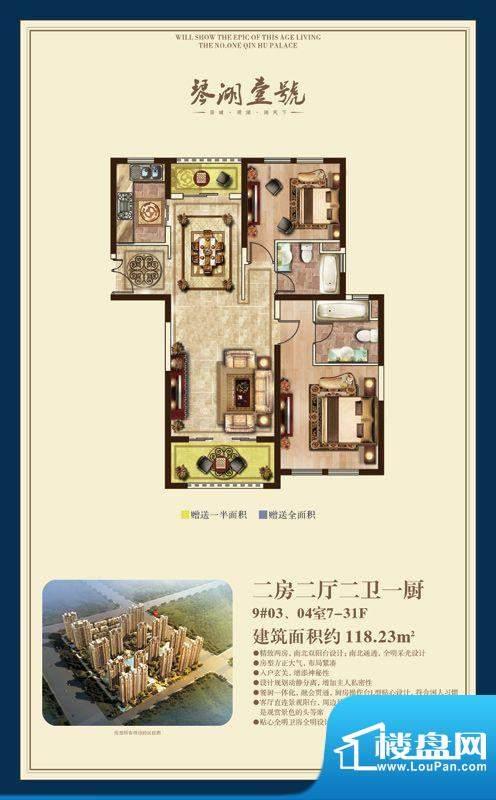 琴湖壹号户型图二房二厅二卫户面积:118.23平米