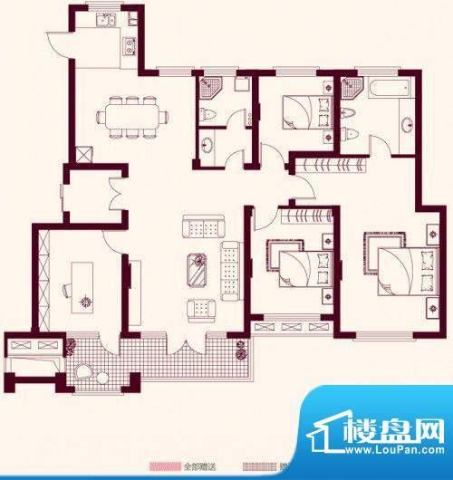 金茂四季花园户型图12-E4室2面积:161.16平米