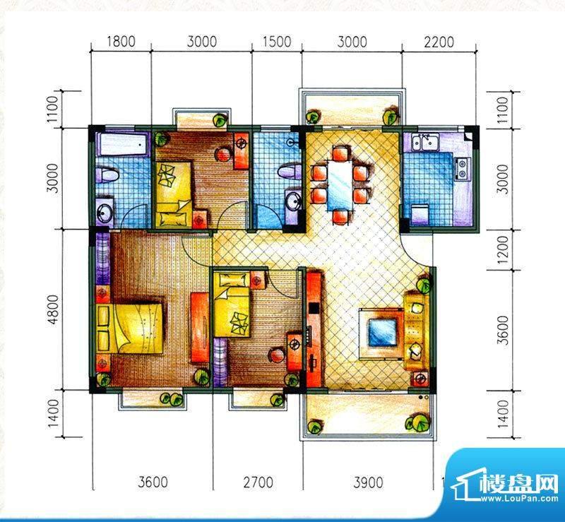 愉翠雅园户型图D1户型 3室2厅2面积:90.30平米