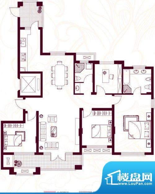 金茂四季花园户型图22-A 4室面积:183.61平米