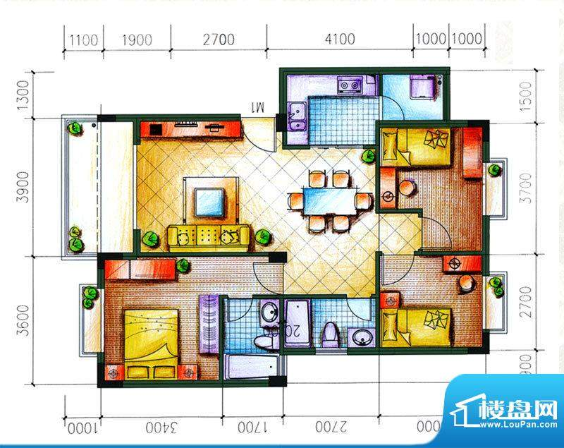 愉翠雅园户型图E1户型 3室2厅2面积:97.02平米