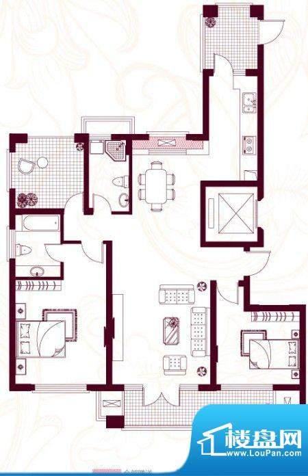 金茂四季花园户型图22-G 3室2厅面积:139.78平米