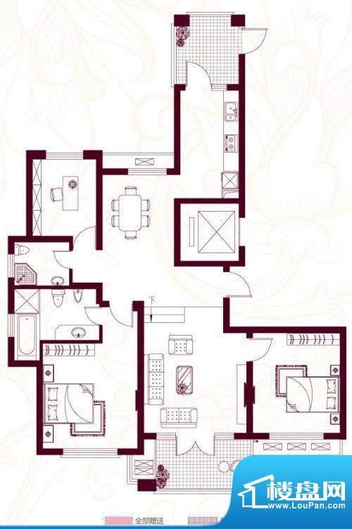 金茂四季花园户型图23栋-157 3面积:156.90平米