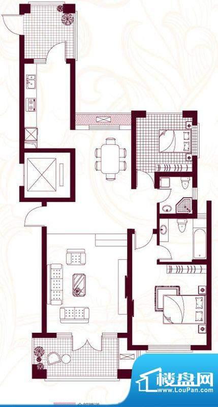 金茂四季花园户型图23-E2室2面积:127.90平米
