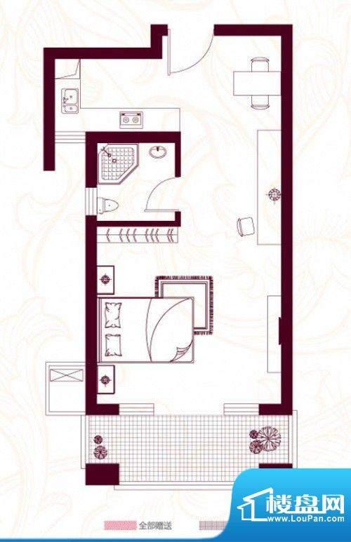 金茂四季花园户型图21幢D/E户型面积:50.51平米