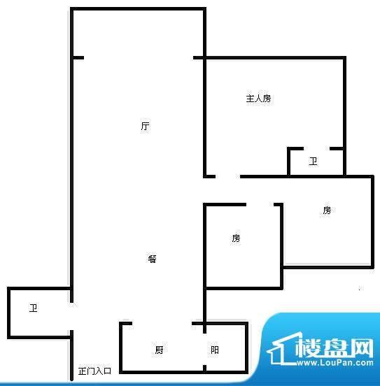 愉翠雅园 3室 户型图面积:85.00平米