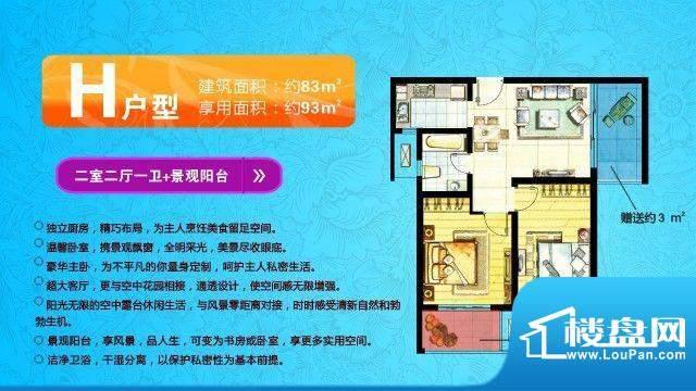 中欧假日花园户型图H户型 两室面积:93.00平米