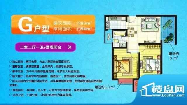 中欧假日花园户型图G户型 两室面积:94.00平米