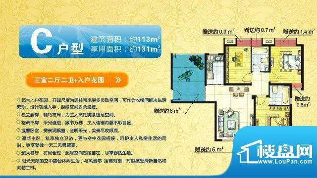 中欧假日花园户型图C户型 三室面积:131.00平米