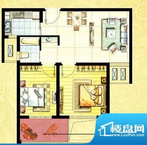 中欧假日花园户型图B户型 两室面积:69.00平米