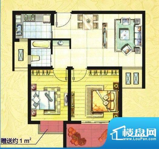 中欧假日花园户型图A户型 两室面积:70.00平米