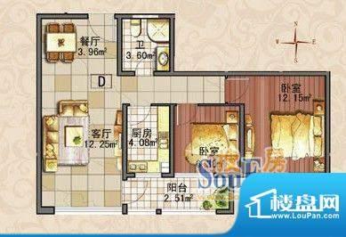金润家园户型图D户型 2室2厅1卫面积:79.00平米