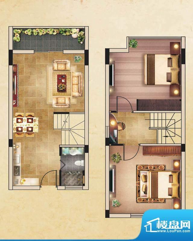 香水鸿门户型图A1户型 2室2厅1面积:53.00平米