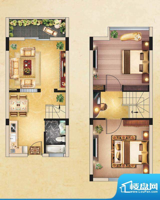 香水鸿门户型图A2户型 2室2厅1面积:60.00平米