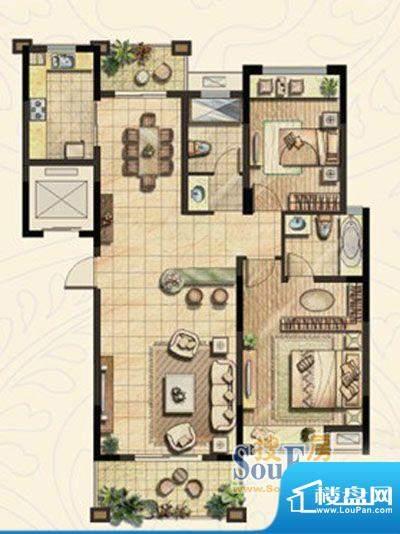 金域蓝湾户型图C4户型 两室两厅面积:123.31平米