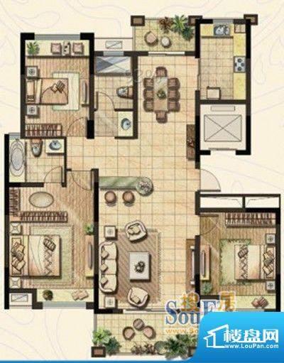 金域蓝湾户型图C1户型 三室三厅面积:139.42平米