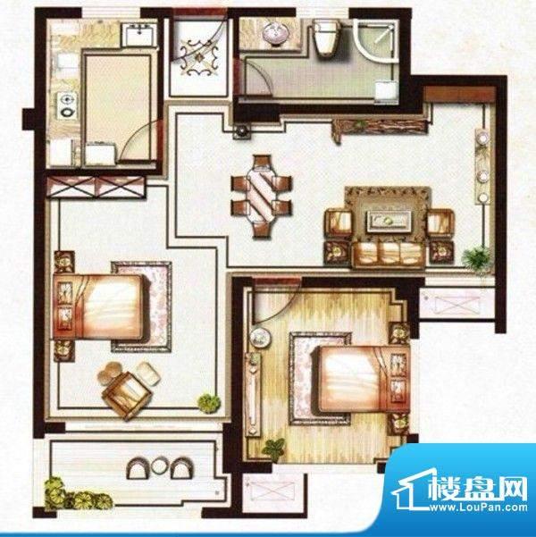 望虞花园户型图两室两厅两卫 面面积:65.00平米