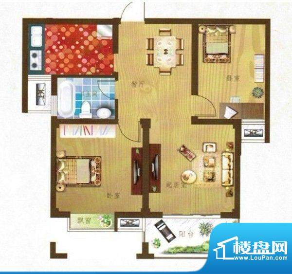 望虞花园户型图两室两厅一卫 面面积:84.00平米