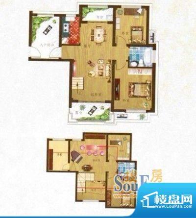 望虞花园户型图两室两厅一卫 面面积:120.00平米