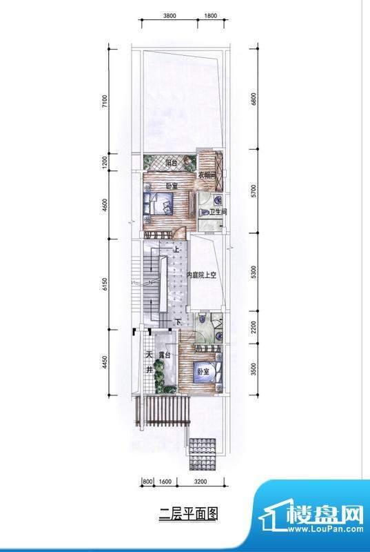 东方墅户型图H户型二层户型图 面积:263.00平米